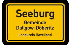 Ortsschild Seeburg in Brandenburg
